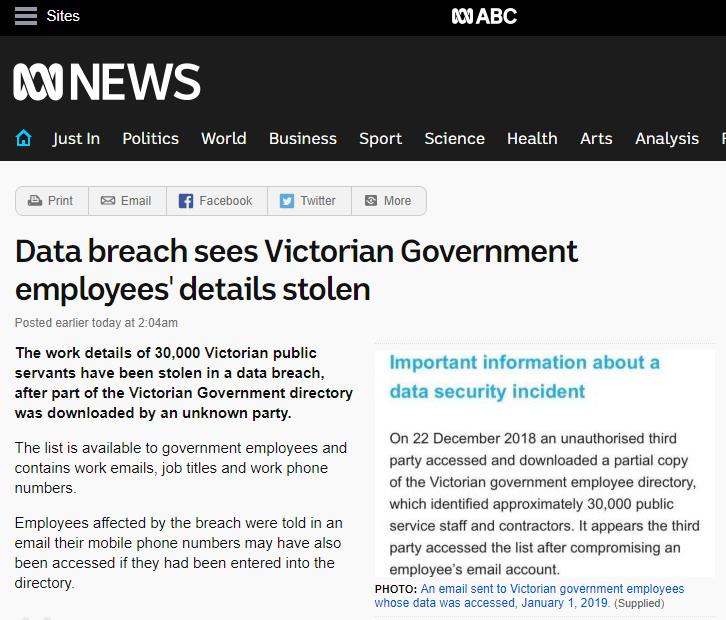Artykuł w ABC News Australia na temat wycieku